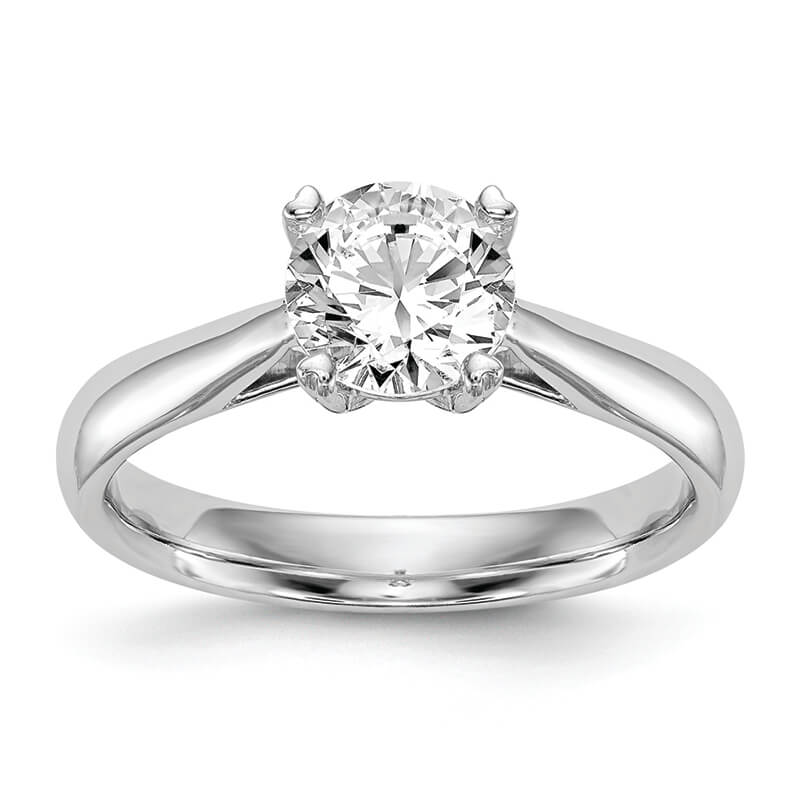 JCX8: 14k White Gold Round Solitaire Engagement Polished Mounting