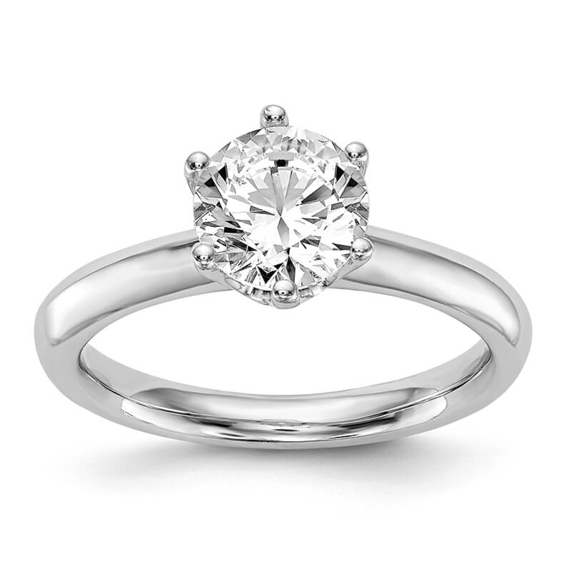 14k White Gold Solitaire Engagement Ring Mounting