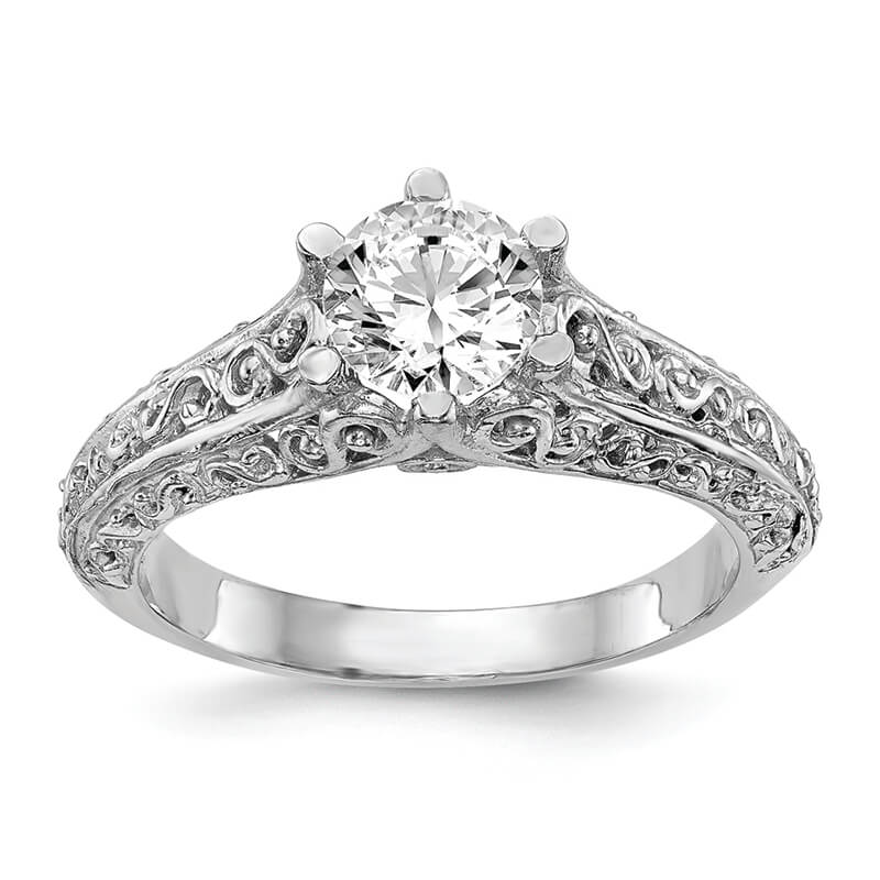 JCX5: 14k White Gold Round Solitaire Engagement Ring Mounting