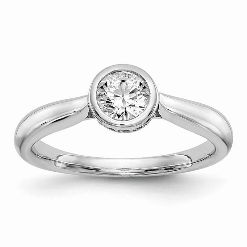 14kw Round Bezel Set Solitaire Diamond Semi-mount Engagement Ring