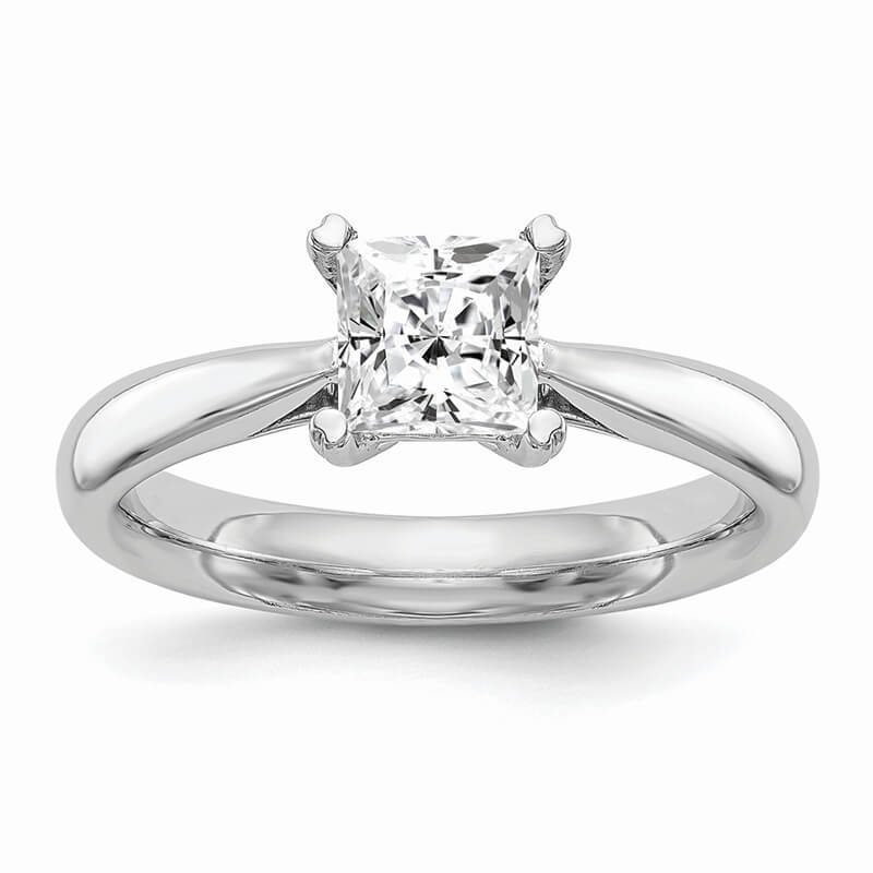 JCX567: 14k White Gold Square Solitaire Engagement Ring Mounting
