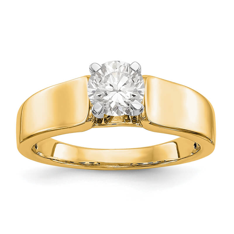 14k Yellow Gold Peg Set Solitaire Eng Ring Mounting