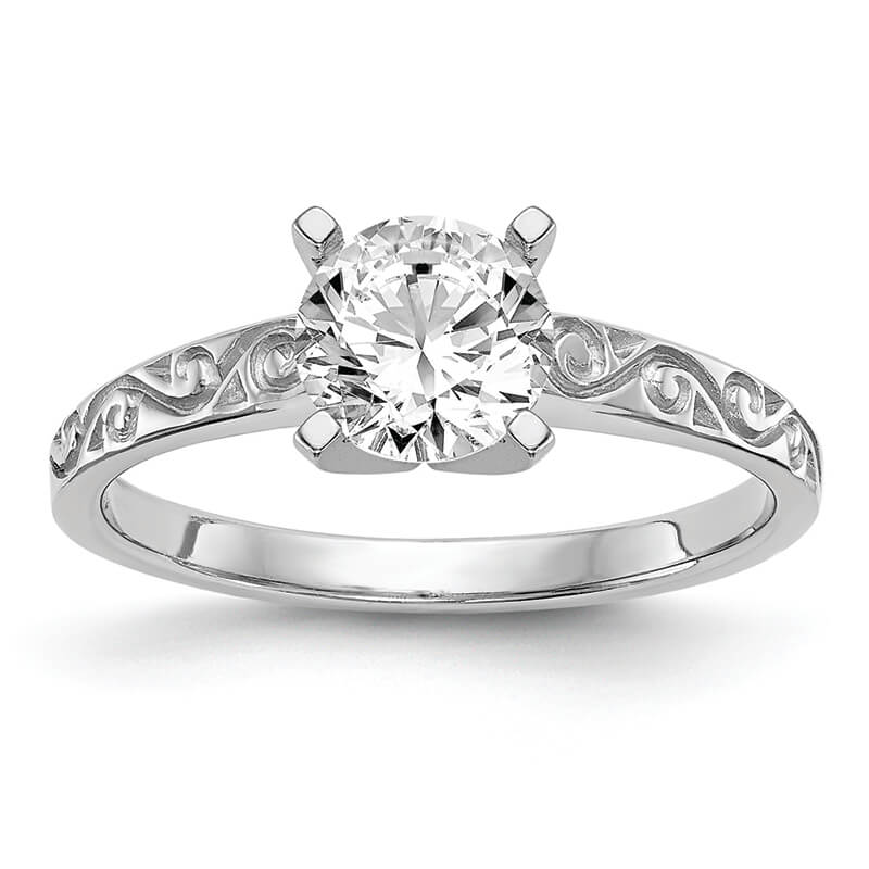 JCX17: 14k White Gold Peg Set Solitaire Engagement Ring Mounting