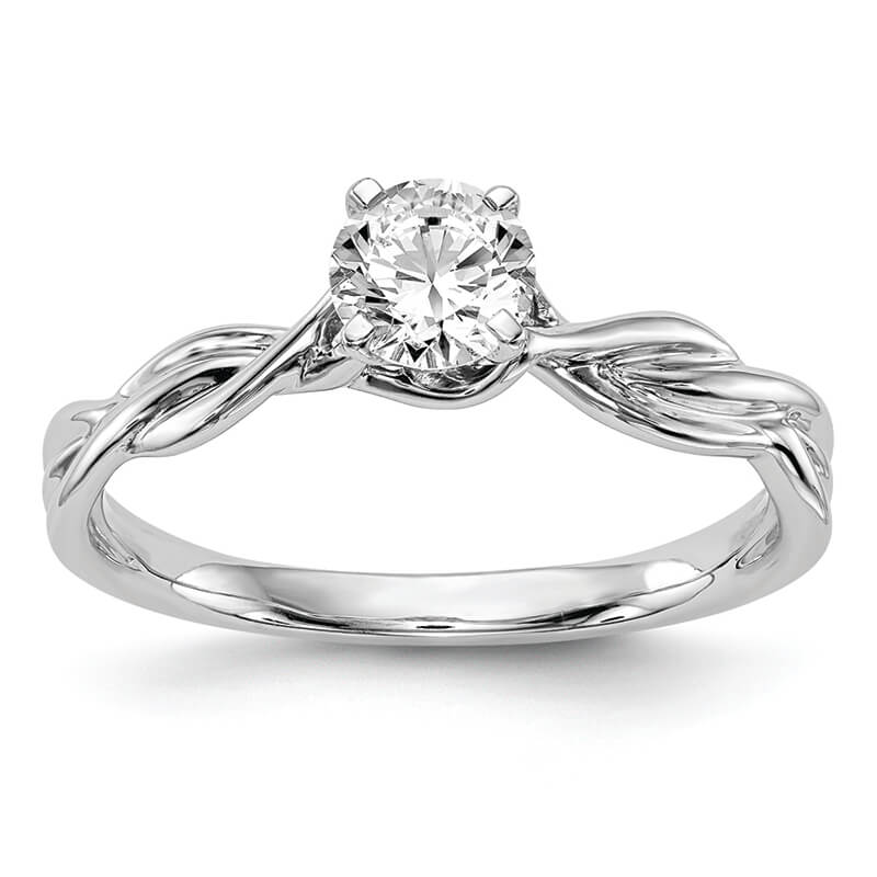 JCX7: 14k White Gold Peg Set Solitaire Engagement Ring Mounting