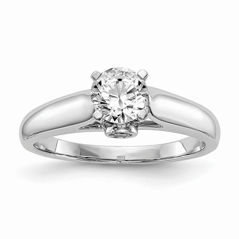 14kw Peg Set Solitaire Diamond Semi-mount Engagement Ring