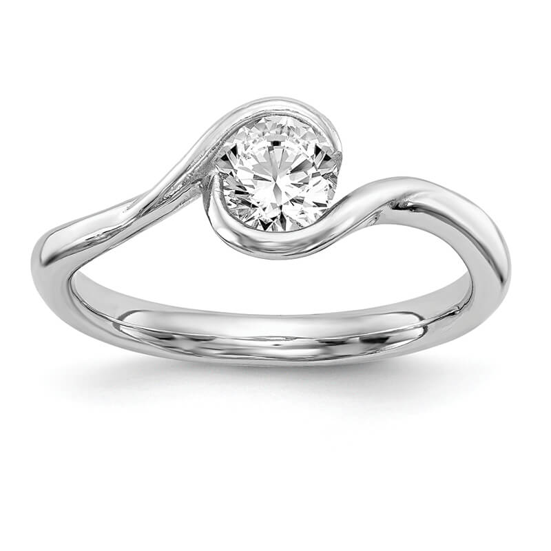 JCX15: 14k White Gold Bezel Solitaire Engagement Ring Mounting