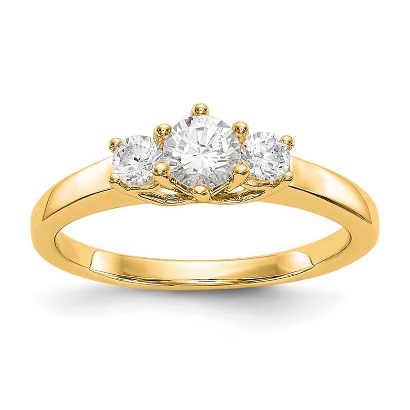 14K Yellow Gold 3-Stone Diamond Engagement Ring Mounting