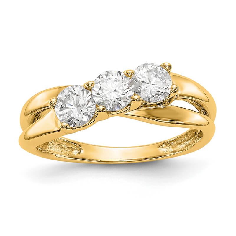 14K Yellow Gold 3-Stone Diamond Engagement Ring
