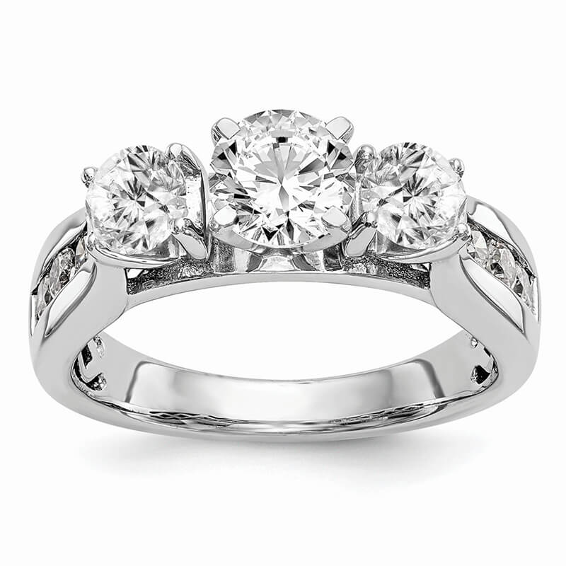 14K White Gold Peg Set 3-Stone Diamond Semi-Mount Engagement Ring