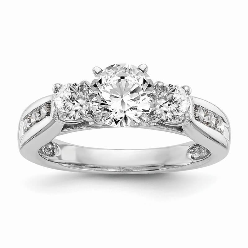 14K White Gold 3-Stone Diamond Semi-Mount Engagement Ring
