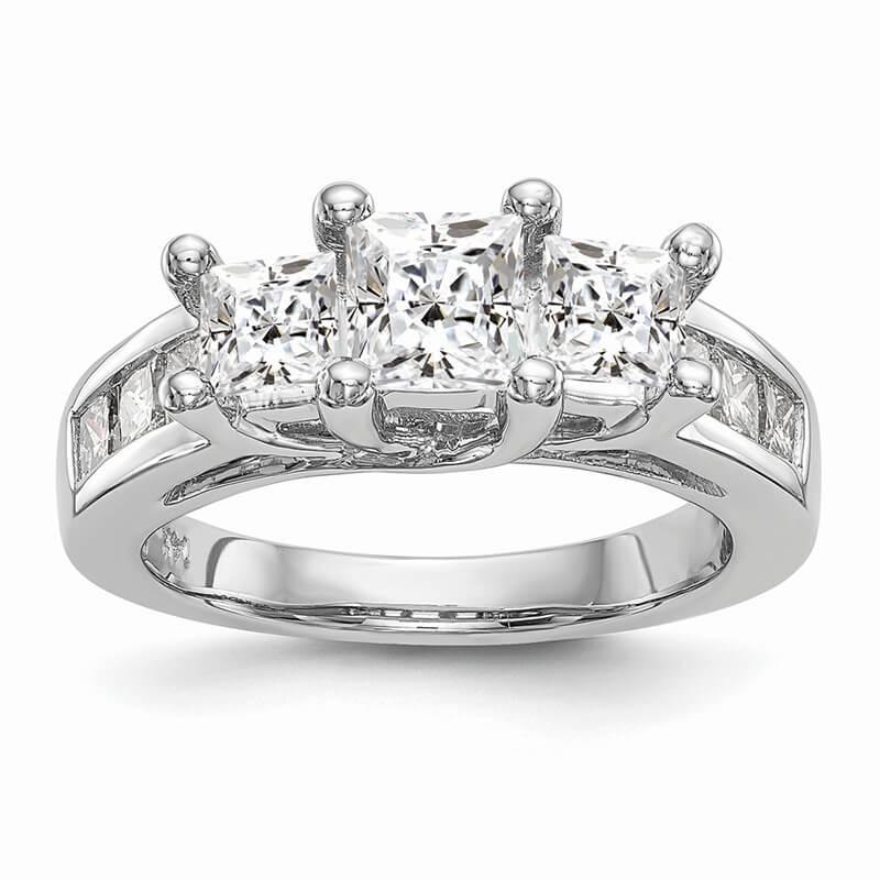 Platinum 3-Stone Diamond Semi-Mount Engagement Ring