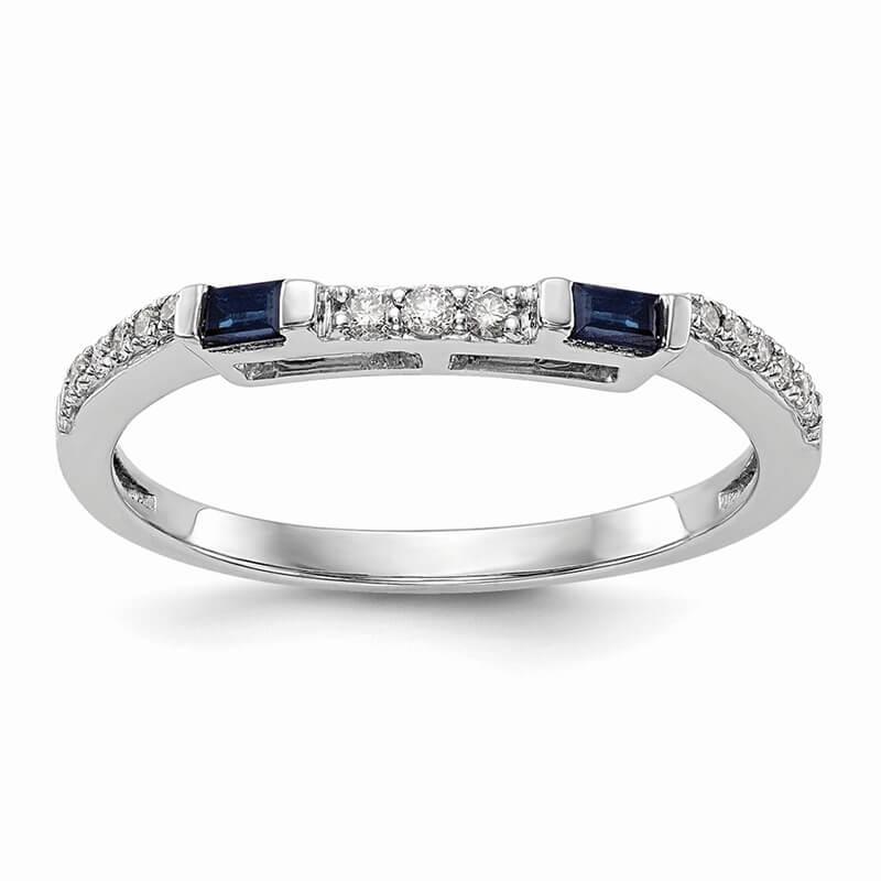14k White Gold Diamond & Sapphire Wedding Band