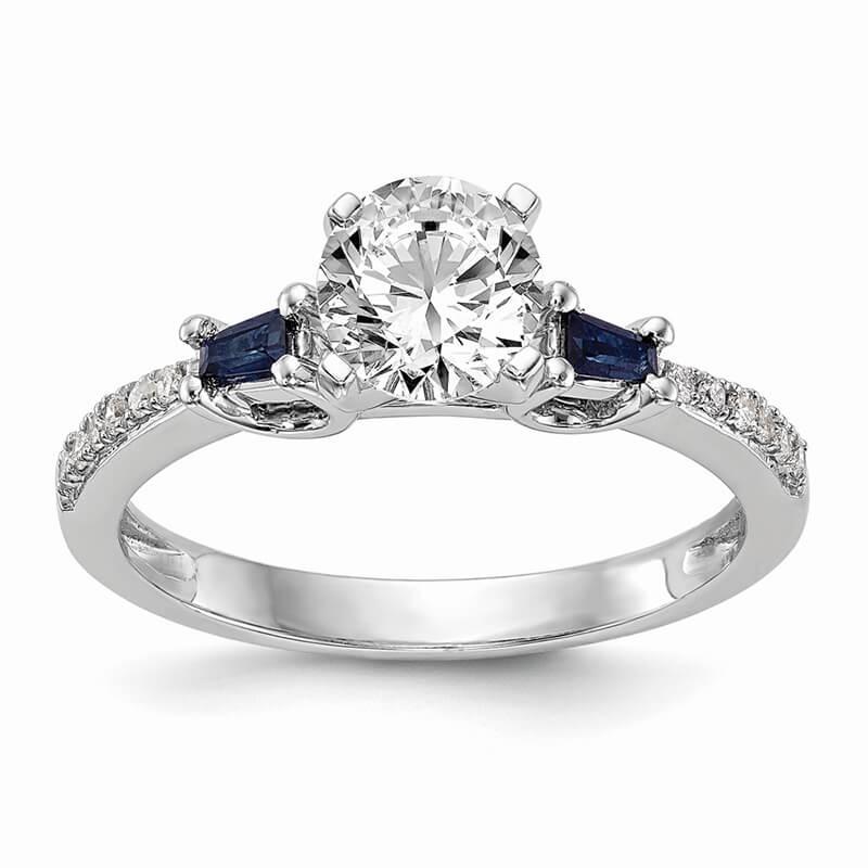 14k Rose Gold 3-stone Dia Peg Set w/Sapphire Semi-mount Engagement Ring