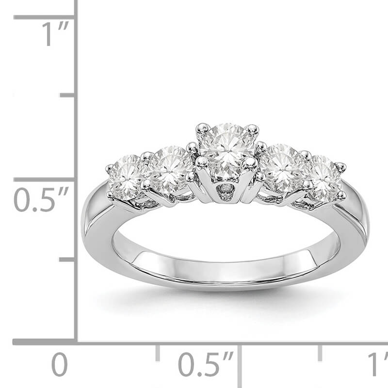 14K Yellow Gold 5-Stone Diamond Engagement Ring Mounting