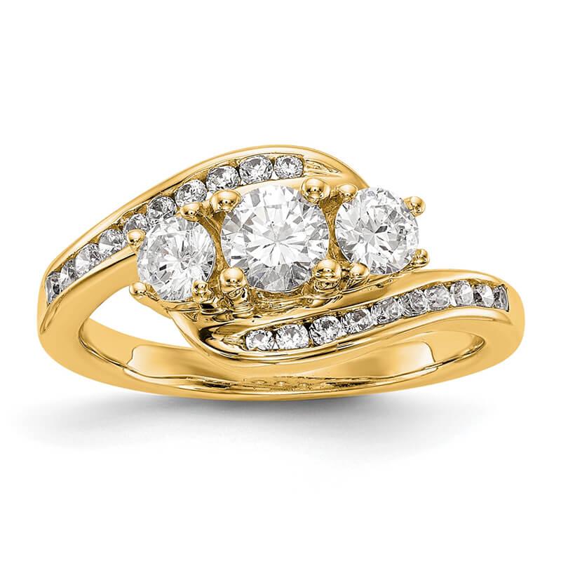 14K Yellow Gold 3-Stone Diamond Semi-Mount Engagement Ring