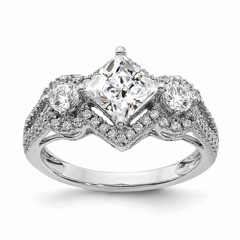14k White Gold Diamond Semi-Mount 3stone Engagement Ring