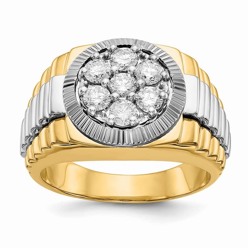 14ktt Ridged-Sides 1ct Mens Lab Grown Diamond SI1/SI2; G H I; Ring