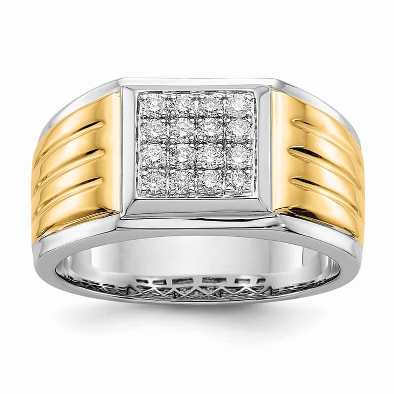 14K Yellow & White Gold Lab Grown Diamond SI1/SI2; G H I; Square Men's Rin