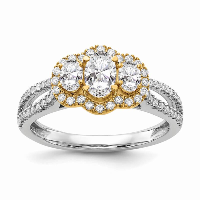 14k W&Y Gold 3-Stone Infinity Diamond Semi-mount Engagement Ring