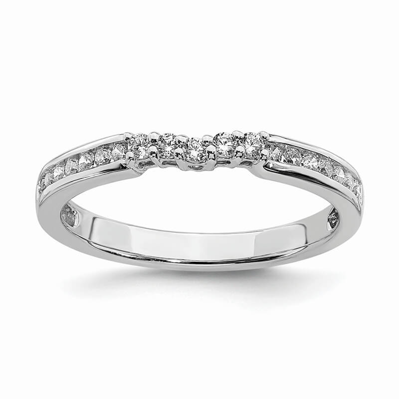 JCX939: 14k White Gold Contoured Diamond Band