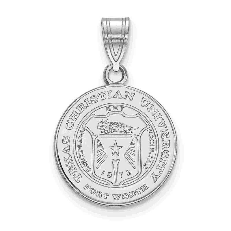 JCX372752: SS Texas Christian University Medium Crest Pendant