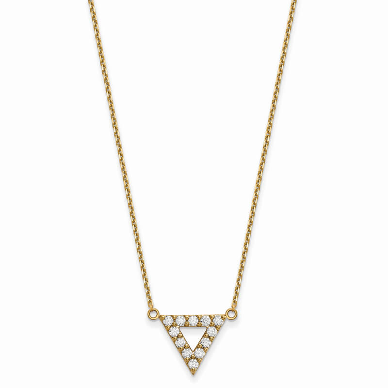14ky Quality Lab Grown Diamond SI1/SI2; G H I; 13mm Triangle Necklace