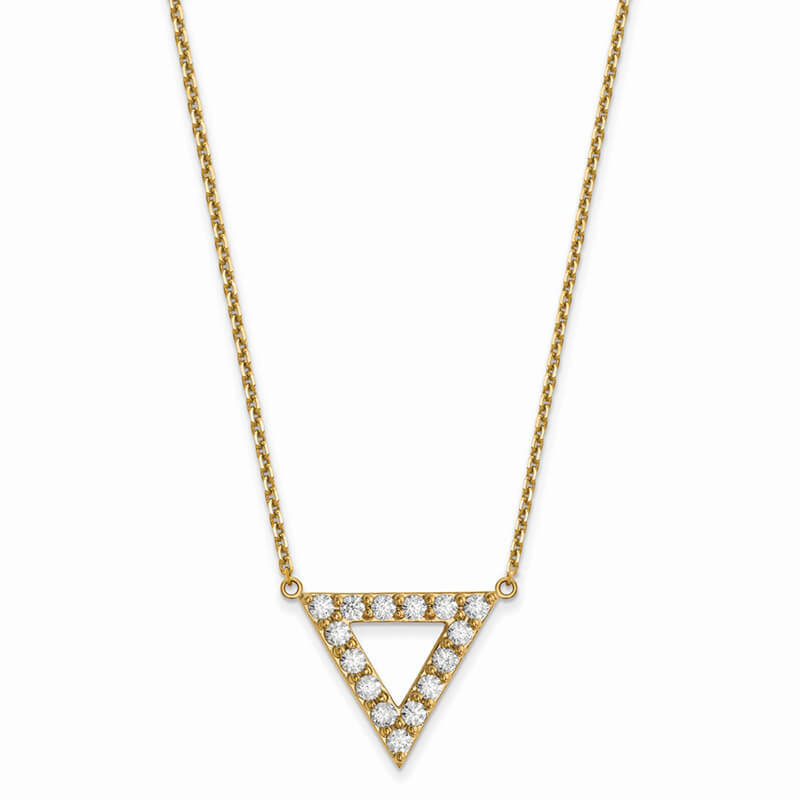 14ky Lab Grown Diamond SI1/SI2; G H I; 20mm Triangle Necklace