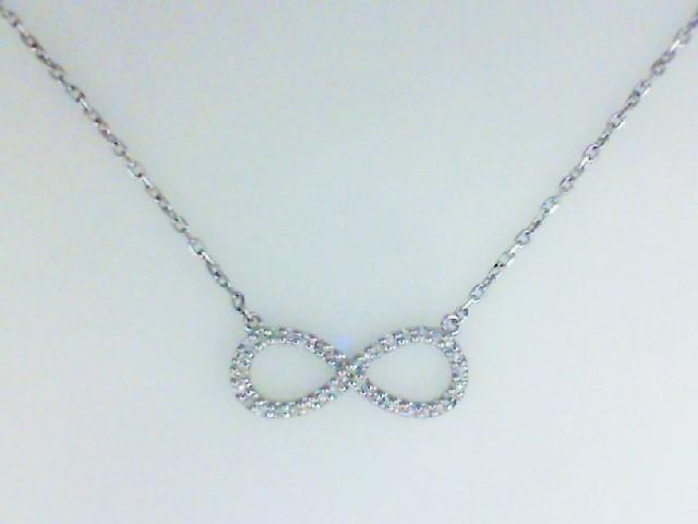 JCSJCS1425: Ladies sterling silver infinity pendant with round diamonds. 