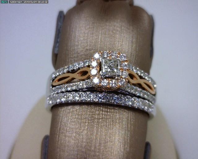 Feminine White & Rose Gold Engagement Ring & Wedding Band Set