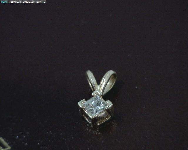 14kt yellow gold Diamond Solitaire pendant set with a 1/5 ct princess cut diamond.  $158!