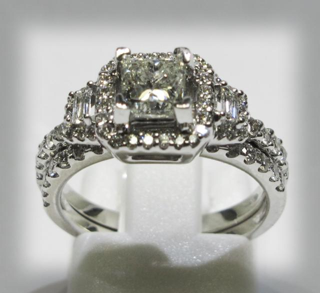 JCS575: 14k White Gold Engagement & Matching Wedding Band Set With 69 Round & Baguette  Accent Diamonds & .72 Carat Princess Cut Center Diamond.