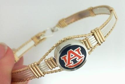 JCSJCS973: Auburn Collegiate Bangle - orange and blue enamel bead - sterling silver with 14kt gf artist wire accents - 7