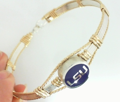 JCSJCS975: Louisiana State University Collegiate bangle - Purple Enamel Bead - Sterling silver with 14kt gf artist wire accents - 7