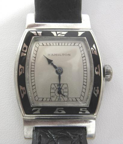 JCSA903: Gent's estate Hamilton watch.  Seventeen jewel mechanical movement in 14kt white gold case with black enamel.  Engraving on back dates to 1932. Elegant!